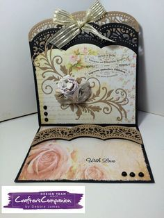 Easel Card made using Sara Signature Shabby Chic collection – Designed by Debbie James. #crafterscompanion
