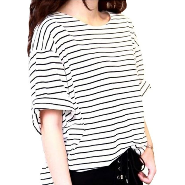 полосатая женская футболка в полоску с коротким рукавом легкая майка кофта универсальная туника