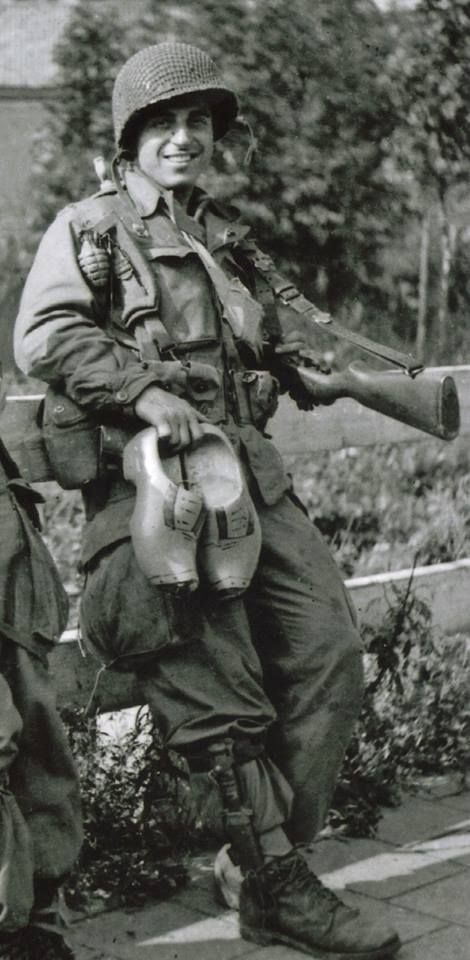 Frank Perconte of Easy Company, 101st Airborne, in Holland, 1944.