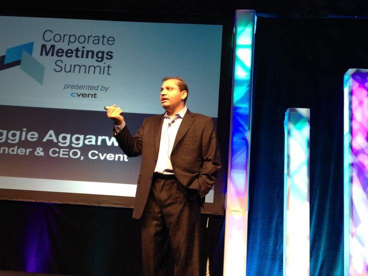 Cvent founder and CEO Reggie Aggarwal speaking at the Corporate Meetings Summit #CventCMS