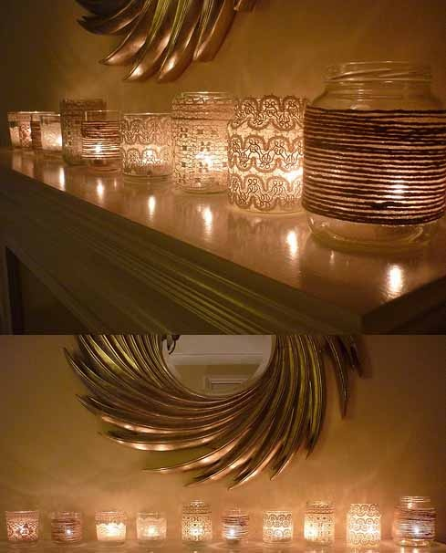 all different DIY candles, looks like a pretty easy way to decorate those plain glass candles and look so elegant and warm :)