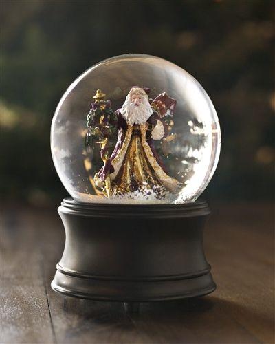 Vintage Holiday Decorations - Musical Santa Christmas Snow Globe   Balsam Hill