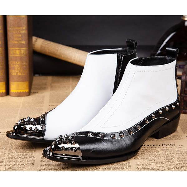 White Leather Studded Pointy Gothic Punk Fashion Cowboy Boots for Men SKU-1280678