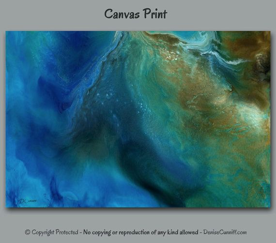 Blue Abstract Painting Giclee Canvas Print Large Wall Art Home Decor Office Teal Turquoise Blue Brown Gold Artwork Master Bedroom