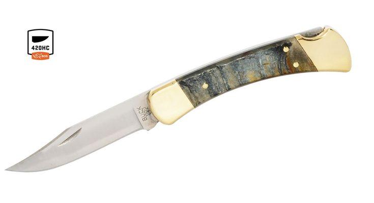 Buck Knives 110 Rams Horn Folding Hunter Knife W/Sheath 110RHSSH - Copper & Clad
