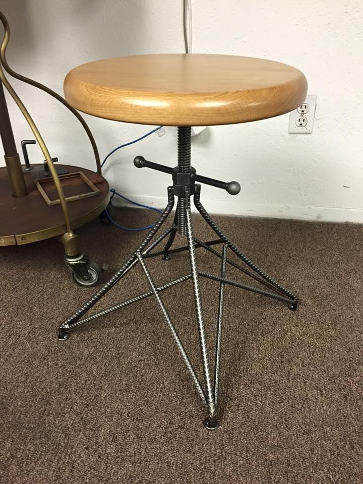 New Stool Design with an Oak Top by Vintage Industrial Furniture