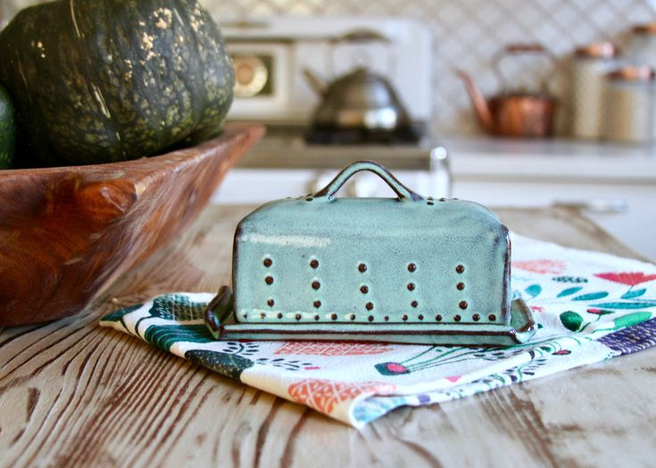 Covered Butter Dish with Lid - Rustic Aqua Mist - French Country Home Decor - MADE TO ORDER by BackBayPottery on Etsy https://www.etsy.com/listing/109111045/covered-butter-dish-with-lid-rustic-aqua
