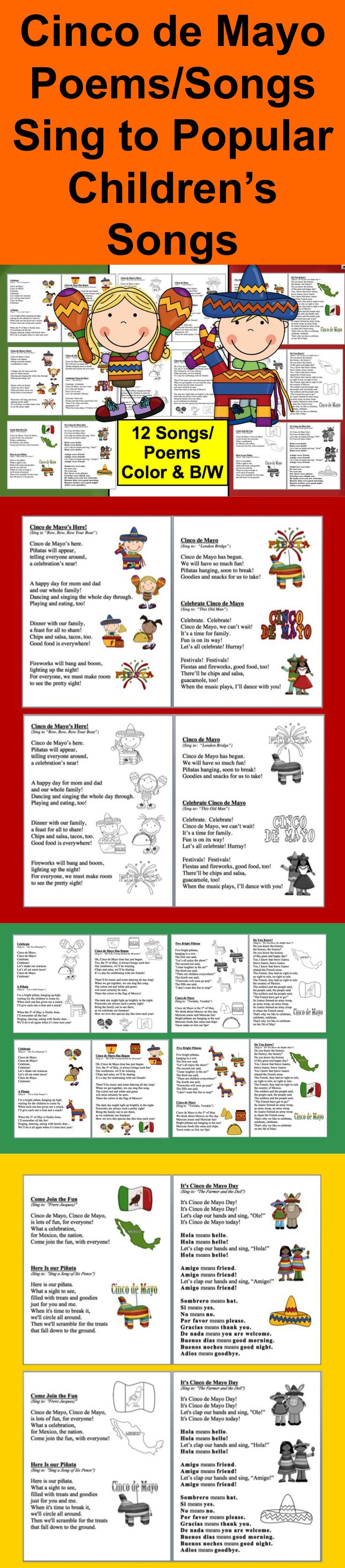 $ Cinco de Mayo Poems and Songs - 18 Pages – 2 versions of each –  color & B/W - 12 Cinco de Mayo Songs to sing to popular children's songs. Enjoy poetry during April Poetry Month while learning about Cinco de Mayo, too!  Use during shared reading or guided reading.  Make a Cinco de Mayo Booklet for your students to take home and share with their families… perhaps a Cinco de Mayo Family Sing Along.