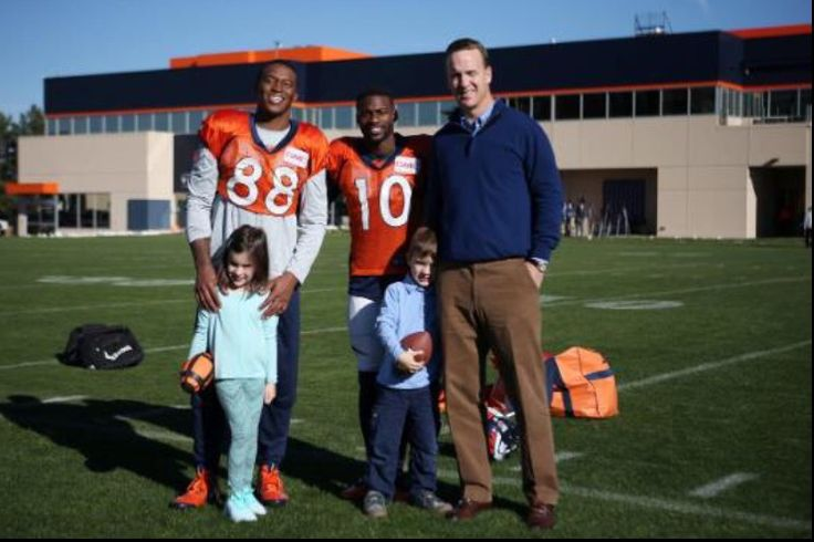 Peyton Manning stops by practice Wednesday.