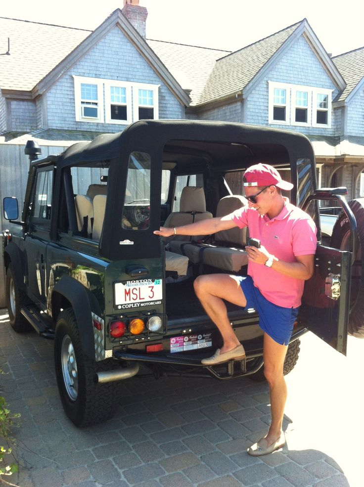 EVERYTHING in this pic makes me VERY happy. Land Rover + Preppy man + location (probably ACK or the Vineyard)