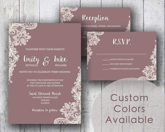 Printable Wedding Invitation PDF Set or by MyPrintableCreations