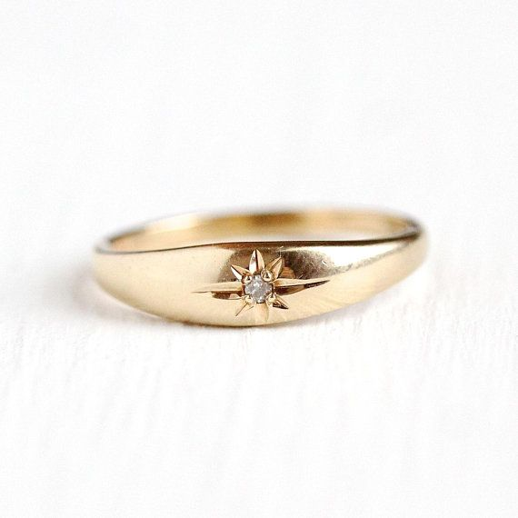 Diamond Baby Ring Vintage 10k Yellow Gold Star Incised Antique Rings Vintage Baby Gold Rings Vintage Jewels