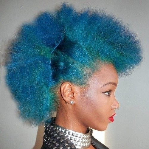 Blue Natural Hair Afro Found On Hi Imcurrentlyobsessed