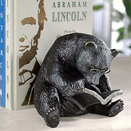 A bookend to bear your books  Poring over what's apparently his favorite text—and unaware of how helpful he is as a bookend—our elder bear gazes through spectacles while he leans steadfastly against your books.        Works well as a doorstop, too      Cast using the time-honored lost-wax process for optimal detail      Crafted in cast iron      6 1/2W x 6 1/2L x 6H; 6 pounds      Weight and dimensions may vary slightly