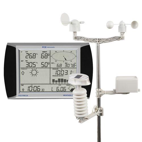 Wetterstation mit Außensensoren PCE-FWS 20. Wetterstation mit Sensoren für Temperatur, Luftfeuchtigkeit, Windgeschwindigkeit, Wi drichtung, Niederschlag und Luftdruck | PCE Instruments