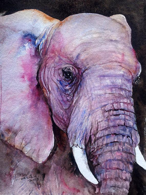 Original Watercolor Painting Elephant Animal Art 9x12 by artiart, $69.00