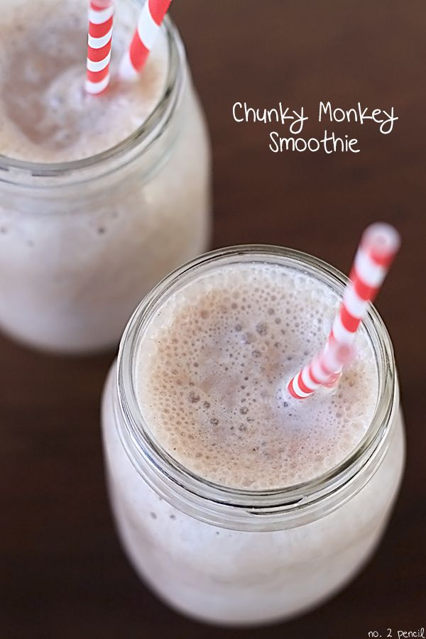 A great way to sneak protein and fruit into your childs diet - Chunky Monkey Smoothie from @no2pencilblog