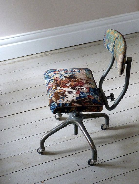 1950s Vintage Needlepoint Desk Chair by OrmstonSaintUK on Etsy