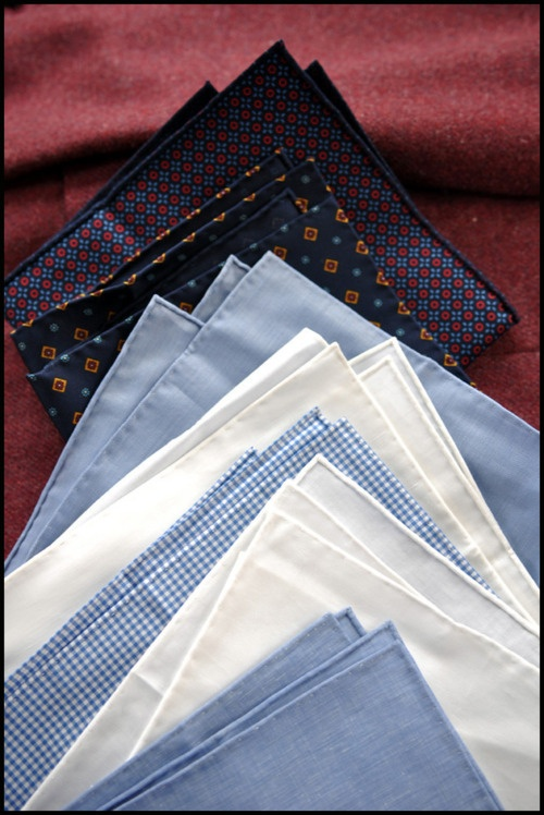 Hand Rolled.  Sam Hober (by David Hober) bespoke hankies and pocket squares.