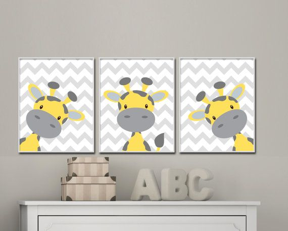 This set of three nursery art prints features a yellow and grey giraffe on each print with a grey chevron background. These art prints are great for either a baby boys nursery or a baby girls nursery. You can change the colors of this set to suit your needs and you can also choose from a