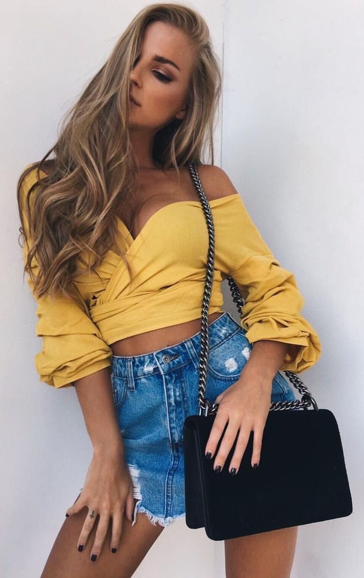 #spring #outfits  Yellow Off The Shoulder Crop Blouse + Ripped Denim Skirt