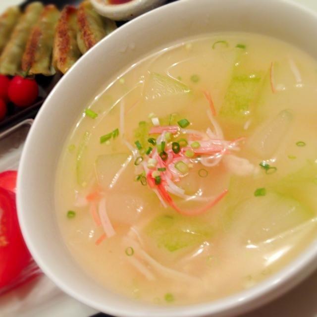 冬瓜をメインに ささみ生姜片栗粉でとろりんスープ*  ベースわ中華風に♪ ネギがいいアクセントになりました! - 10件のもぐもぐ - 冬瓜でとろりんスープ* by tuxxxtan