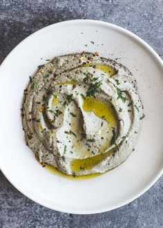 Minted Baba Ghanoush (Roasted Eggplant Dip) -- vegan recipe