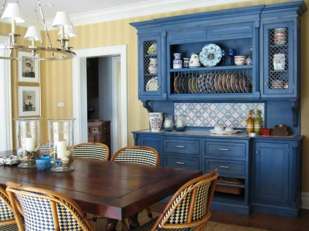Country Dining Room | Cultivate-The blue cabinet is a great shade, I've dubbed it electric cornflower. A fun way to spice up the classic design.