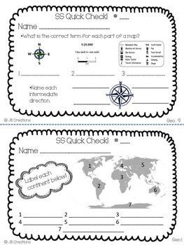 4th Grade Social Studies Quick Check Spiral Review Set (Oh