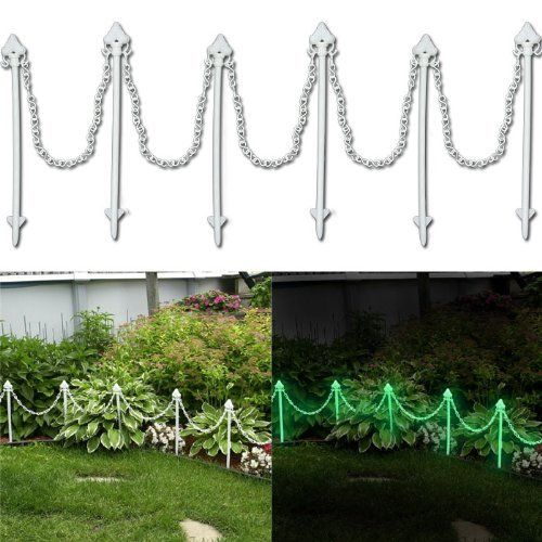 Trademark Home CollectionT Chain Link Garden Fence - Glow-In (80-23201) - by Trademark. $19.42. Glow in the dark decorative fence defines walkways and flower beds to see day and night! During the day, you see a charming white chain fence. At night, the posts and chains glow. Easy-to-install without any tools or digging.Features include:Instantly create decorative fencing around walkways, flower and garden beds and lawns!132 inches total of glow in the dark chain...