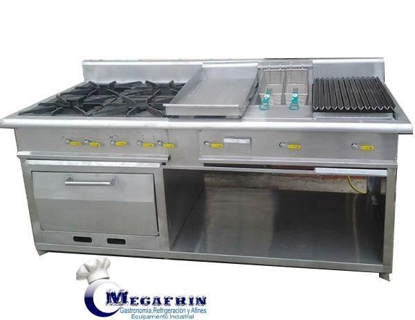 Cocina industrial a gas varios servicios 4 hornillas freidora de papas, dos canastas pequeñas Hornos doble lata Grill para asar carnes