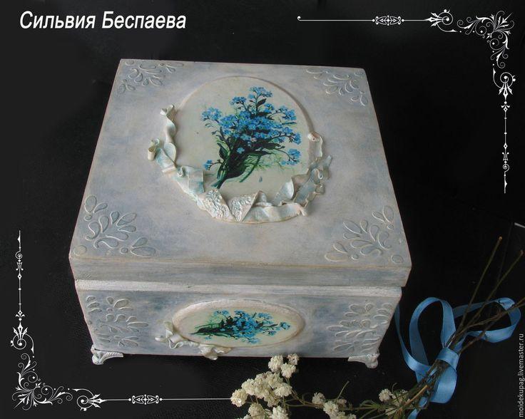 Купить Деревянная шкатулка для украшений Незабудка голубая - шкатулка, шкатулка ручной работы, шкатулка для мелочей