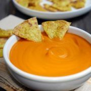 "This sweet potato nacho ""cheese"" dip is a dairy-free ""cheese"" that also happens to be nut-free and gluten-free. It actually tastes like cheese!"
