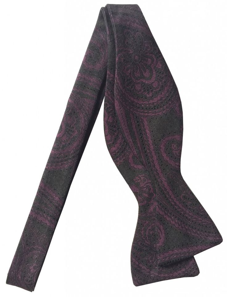 Shaun Murphy has a variation of this, but it's black-on-black. David Hart's a men's designer worth keeping an eye on. WINE PAISLEY BOWTIE - David Hart