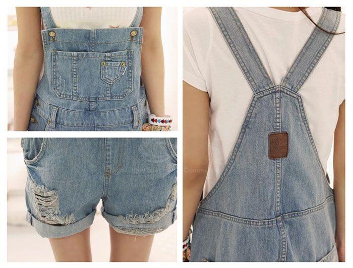 Loose Fit Broken Hole Design Big Pockets Buttons Embellished Denim Women's Cheap Overalls ShortsShorts | RoseGal.com