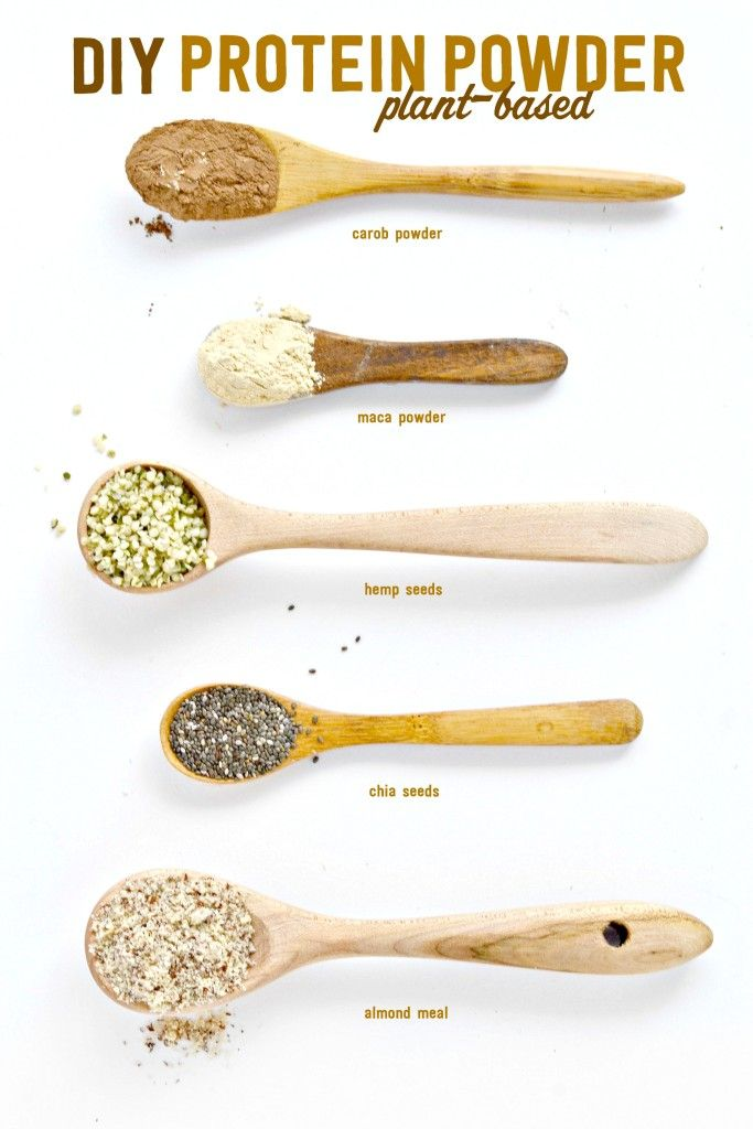 Protein Powder DIY mix from Plants- Healthy mix of chia, maca powder, hemp and almond. #glutenfree, #vegan