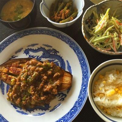 レシピ. とうもろこしご飯、米なすステーキのあんかけ、ブロッコリースローなど。