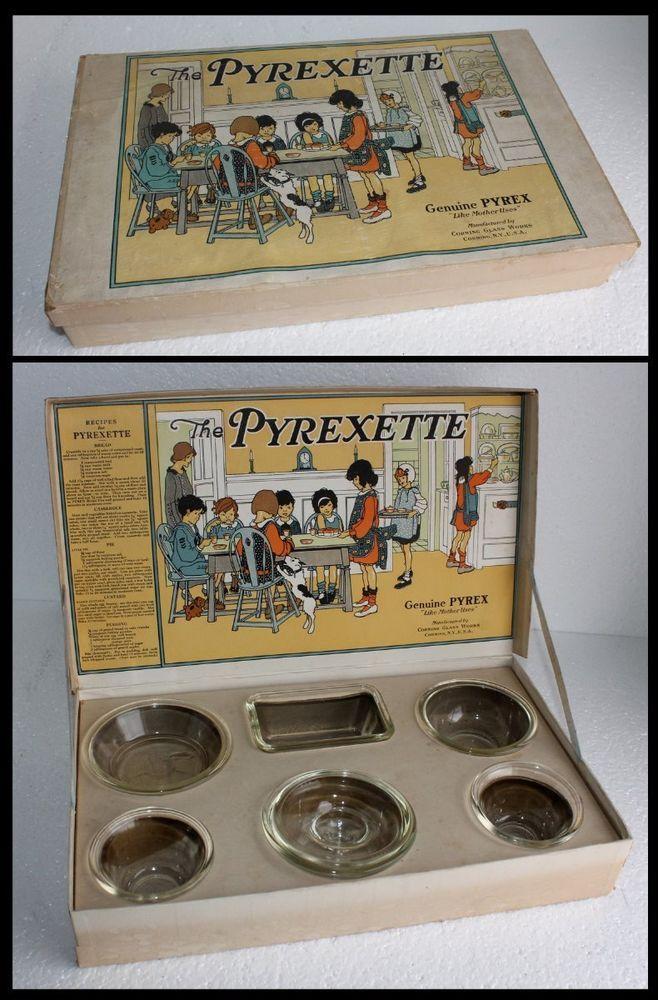 Vintage Childs PYREXETTE PYREX SET Childrens Baking Glassware w ORIGINAL BOX OLD #Pyrex