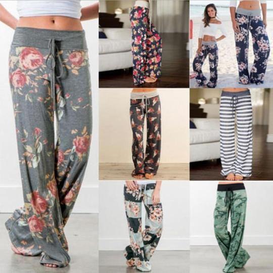 Fashion Women Floral Soft Lounge Wide Leg Pants High Waist Casual Looserricdress
