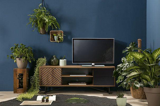 Meuble Tv Industriel Edea Imitation Chene Et Noir Meuble Tv Idee Deco Appartement Meuble Noir Et Bois