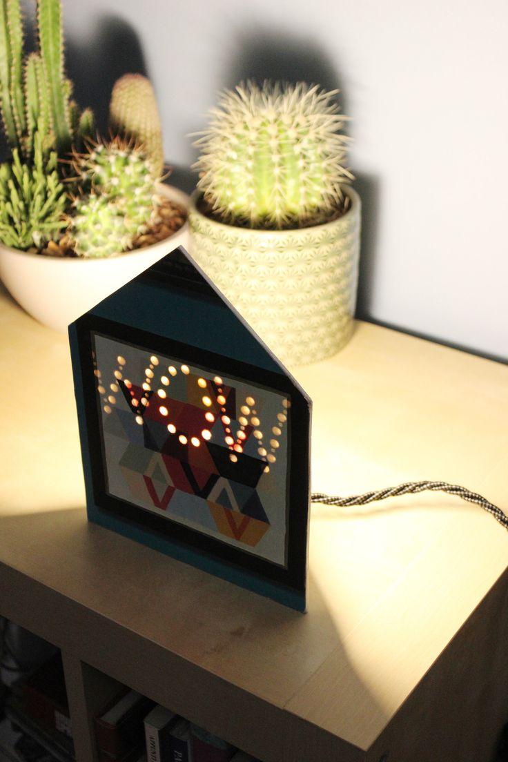Lampada quadro, Lampada geometrica, Lampada casetta