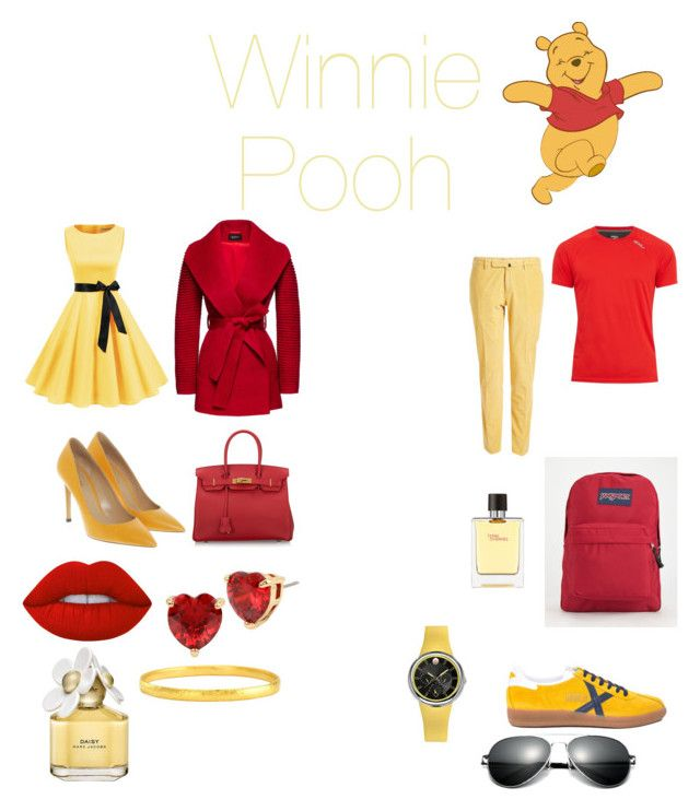 """""""Winnie Pooh"""" by disneybound-mexico on Polyvore featuring Incotex, 2XU, Sentaler, Bally, Hermès, JanSport, Lime Crime, Betsey Johnson, Marc Jacobs and Gurhan"""