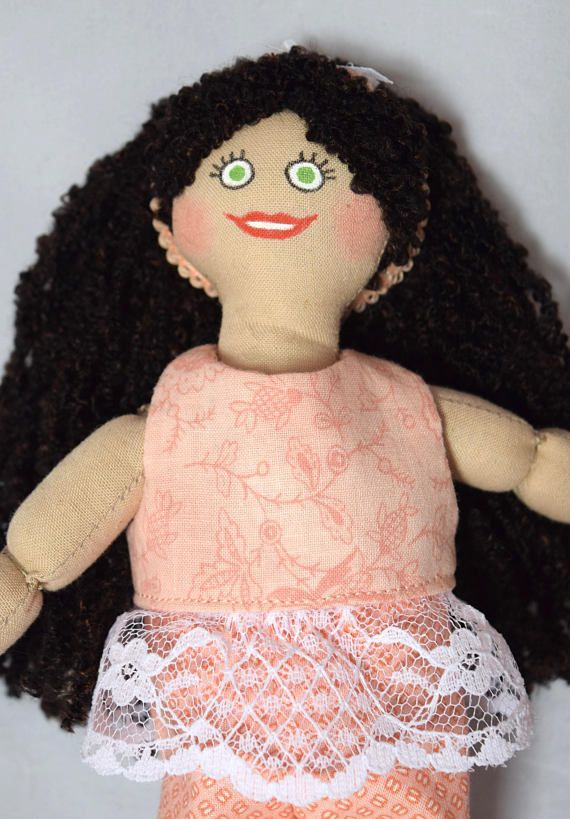 Brunette Girl Doll in Peach Doll Clothes - Handmade Toy