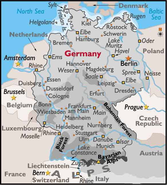 Map Of Germany Landforms.Germany Fairytale Route To Fairytale Land Deutschland Germaniya