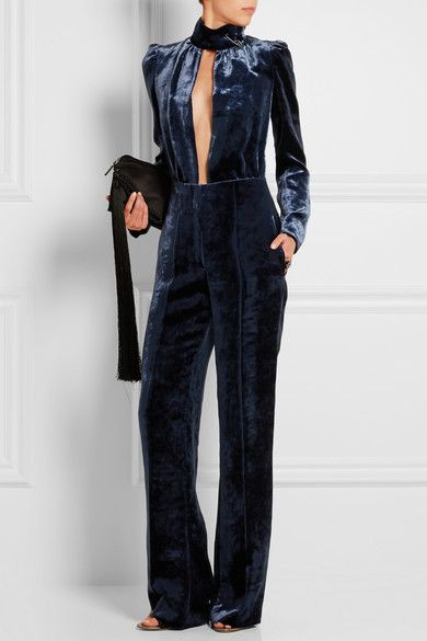 Storm-blue velvet Concealed snap, hook and zip fastening at front 79% viscose, 21% silk Dry clean Designer color: Dark Blue
