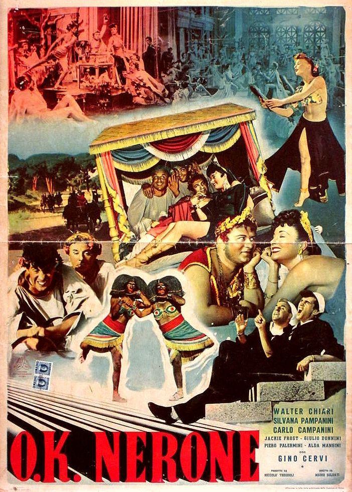 """Mario Soldati's """"O.K. Nerone"""" (English title: """"O.K. Nero!"""", 1951), starring Walter Chiari, Silvana Pampanini, Carlo Campanini and Gino Cervi."""