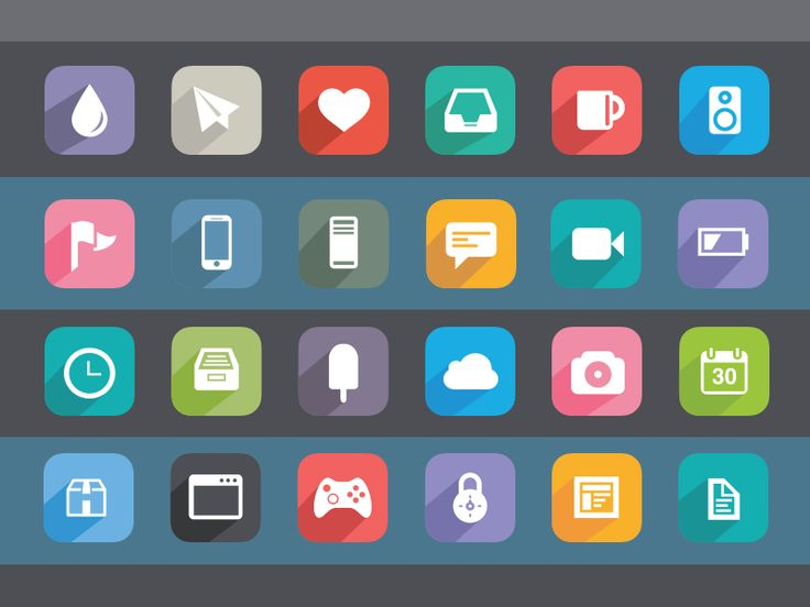 Flat Icons / looooove the long shadow, could be a way to add more interest into the cubed content area.