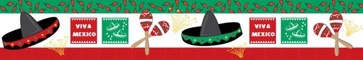 O3F/016 Viva México  Cada paquete contiene 15 tiras que dan un total de 9mts.  Excelente para enmarcar tus frisos o periódico mural.  Llama al 01(222)211-02-70  Ubicados en Puebla