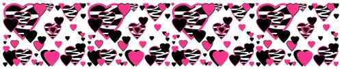 Hot Pink Zebra Hearts Wallpaper Border Decals for teen girls room wall decor #decampstudios