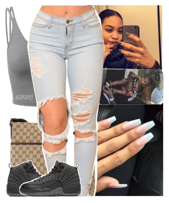 """let me show you how the gangsters do it"" by lamamig ❤ liked on Polyvore featuring Doublju, Gucci and NIKE"